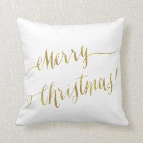 Merry Christmas Faux Gold Foil Script Lettering Throw Pillow