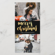 Merry Christmas Faux Gold Handwritten | Two Photos Holiday Card