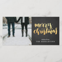 Merry Christmas Faux Gold Script Chalkboard Photo Holiday Card