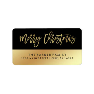 Merry Christmas   Faux Gold Typography and Black Label