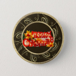 Merry Christmas Faux Lights Poinsettia Button