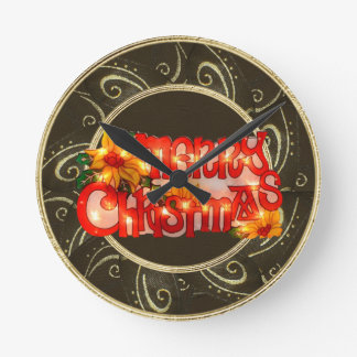 Merry Christmas Faux Lights Poinsettia Clock