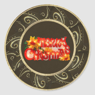 Merry Christmas Faux Lights Poinsettia Stickers