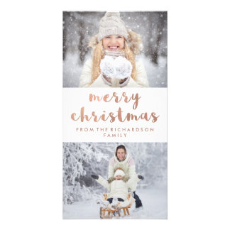 Merry Christmas | Faux Rose Gold with Two Photos Card
