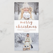 Merry Christmas | Faux Rose Gold with Two Photos Holiday Card