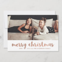 Merry Christmas | Faux Rose Gold with Your Photo Holiday Card