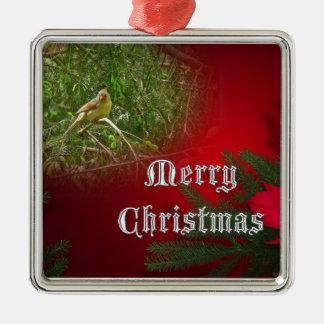 Merry Christmas Female Cardinal Songbird Metal Ornament