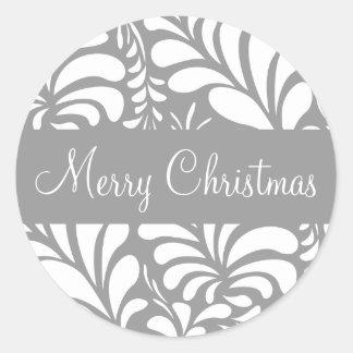 Merry Christmas Fern Flora Envelope Sticker Seal