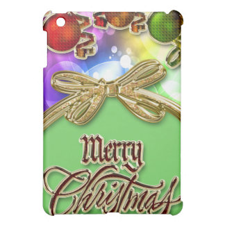 Merry Christmas Festive Bokeh Lights & Baubles iPad Mini Covers