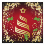 Merry Christmas Festive Bright Red and Gold Poster