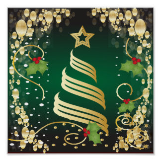 Merry Christmas Festive Dark Green and Gold Poster