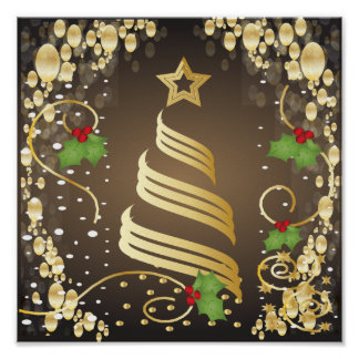 Merry Christmas Festive Earthtone Brown and Gold Poster