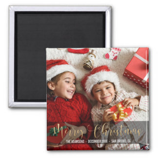 Merry Christmas | Festive Gold Typography Photo Magnet