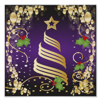 Merry Christmas Festive Passion Purple and Gold Poster
