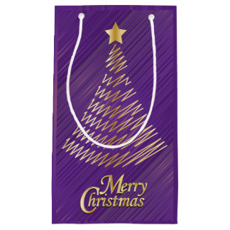 Merry Christmas Festive Purple and Gold Tree Small Gift Bag