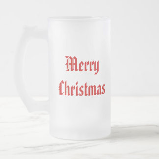 Merry Christmas. Festive Red and White. Custom 16 Oz Frosted Glass Beer Mug