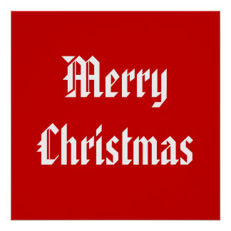 Merry Christmas Festive Red and White Custom Poster