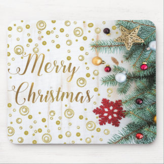 Merry Christmas Festive Tree Gold Circles Mouse Pad