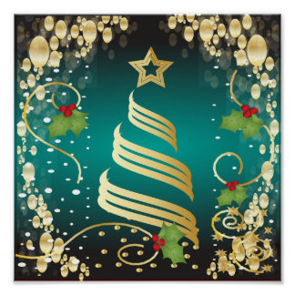 Merry Christmas Festive Turquoise Blue and Gold Poster