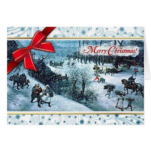 merry christmas fine art christmas greeting card zazzle