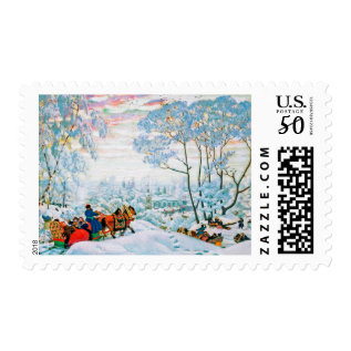 Merry Christmas. Fine Art Christmas Postage Stamps at Zazzle