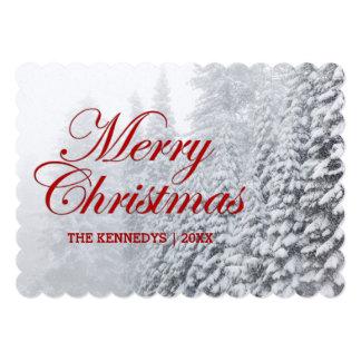 Merry Christmas - Fir trees in snowfall Card