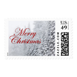 Merry Christmas - Fir trees in snowfall Postage Stamp