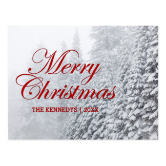 Merry Christmas - Fir trees in snowfall Postcard