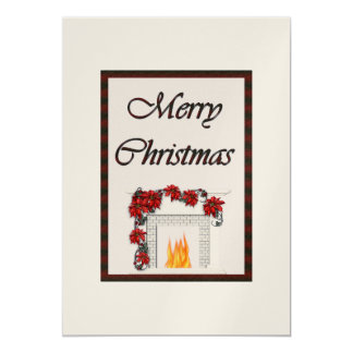 Merry Christmas Fireplace Gold Card