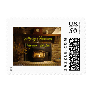 Merry Christmas Fireplace Home For Holidays Postage