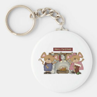 merry christmas fireplace mice basic round button keychain