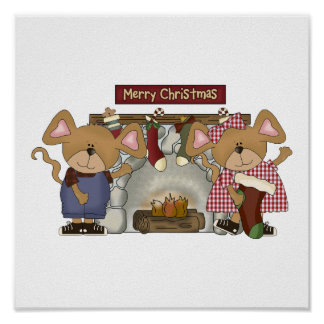 merry christmas fireplace mice poster