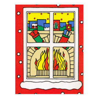 Merry Christmas, Fireplace Postcard