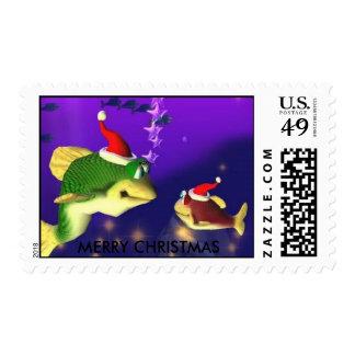 Merry Christmas Fish Stamp