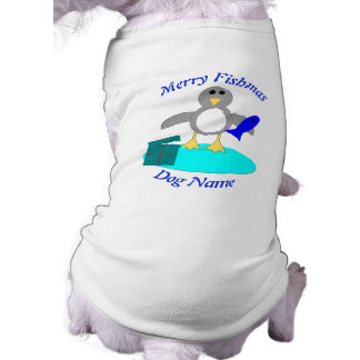 Merry Christmas Fishing Penguin Custom Dog T Shirt