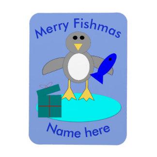 Merry Christmas Fishing Penguin Custom Magnet