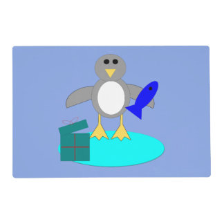 Merry Christmas Fishing Penguin Custom Placemat