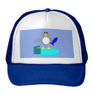 Merry Christmas Fishing Penguin Hat