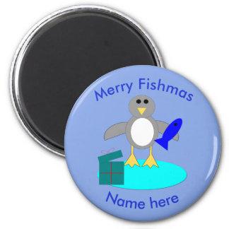 Merry Christmas Fishing Penguin Magnet