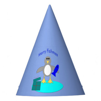 Merry Christmas Fishing Penguin Party Hat