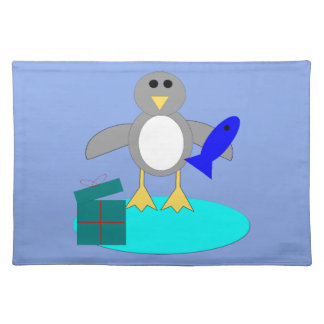 Merry Christmas Fishing Penguin Placemat