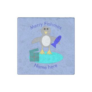 Merry Christmas Fishing Penguin Stone Magnet