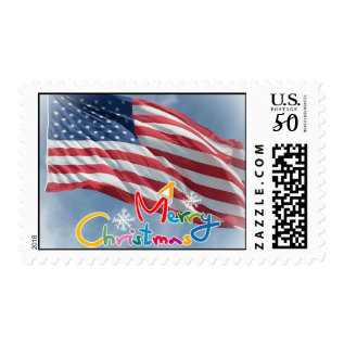 Merry Christmas Flag Postage at Zazzle