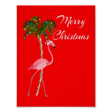 Beach Themed Merry Christmas Flamingo Poster