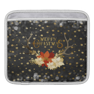 Merry Christmas Floral Antlers Confetti iPad Sleeve