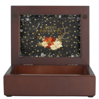 Merry Christmas Floral Antlers Confetti Keepsake Box