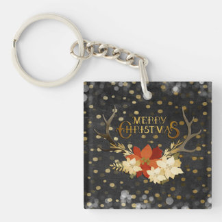 Merry Christmas Floral Antlers Confetti Keychain