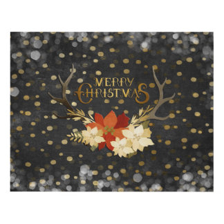 Merry Christmas Floral Antlers Confetti Panel Wall Art