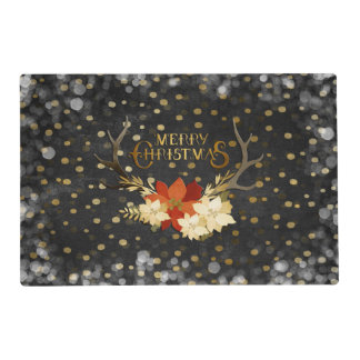 Merry Christmas Floral Antlers Confetti Placemat