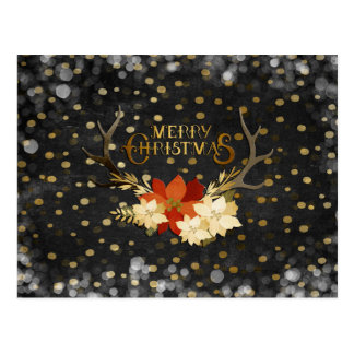 Merry Christmas Floral Antlers Confetti Postcard